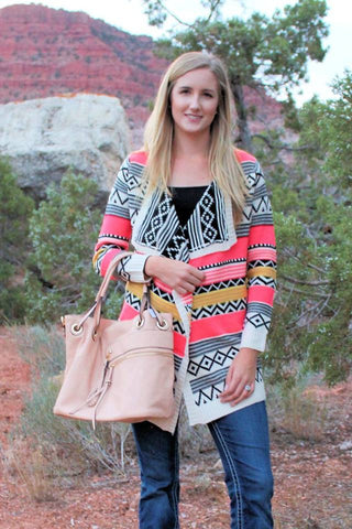 Falina Aztec Sweater Cardigan - Pink - Jourdan's Jewels