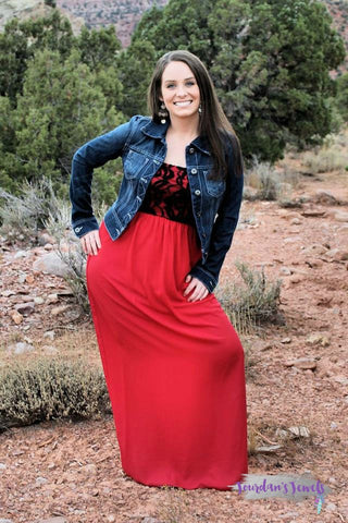 Brittney Tube Top Maxi Dress - Red and Black - Jourdan's Jewels