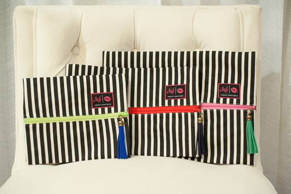 Black and White Stripe Makeup Junkie Bag - Jourdan's Jewels