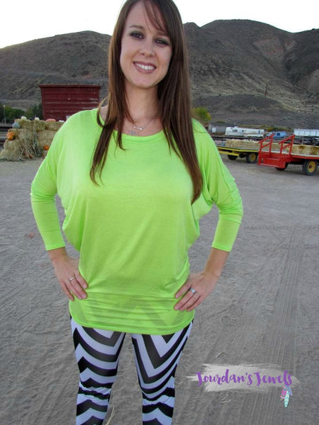 Lime Green Long Sleeve Dolman Top - SMALL - Jourdan's Jewels
