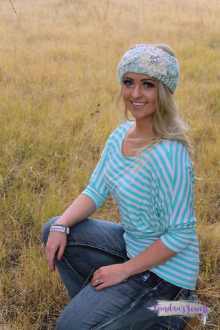 Mint and White Striped Dolman
