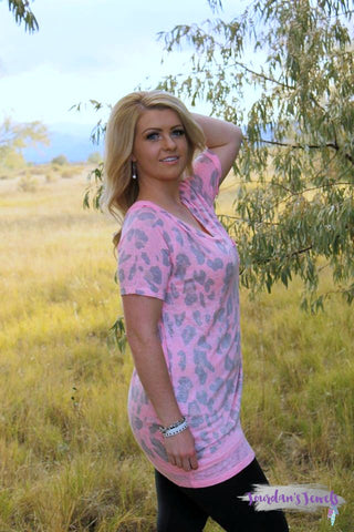 Maci Leopard Print Short Sleeve - Pink and Grey