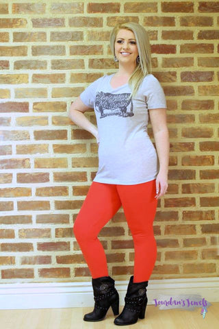 Red Fleece Lined Leggings