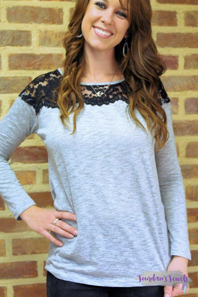 Grey Long Sleeve with Black Lace Neck - Jourdan's Jewels