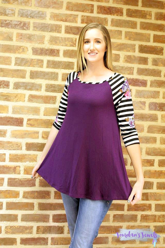 Pretty Purple Top with Floral Striped Sleeves
