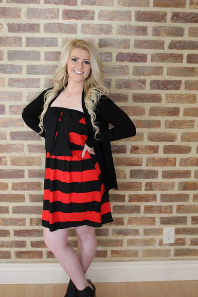 Connie Tube Top Striped Bow Dress - Red and Black - Jourdan's Jewels