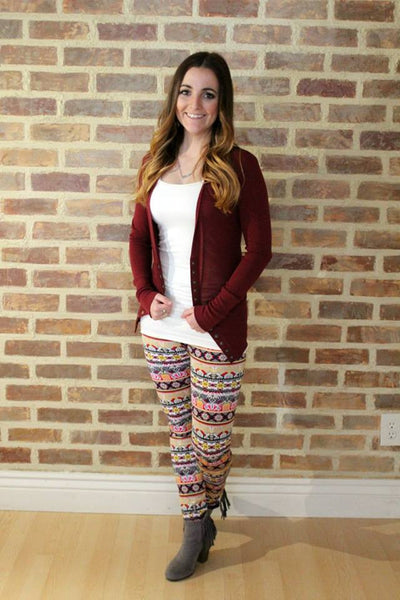 Beige Patterned Fleece Lined Leggings - Jourdan's Jewels