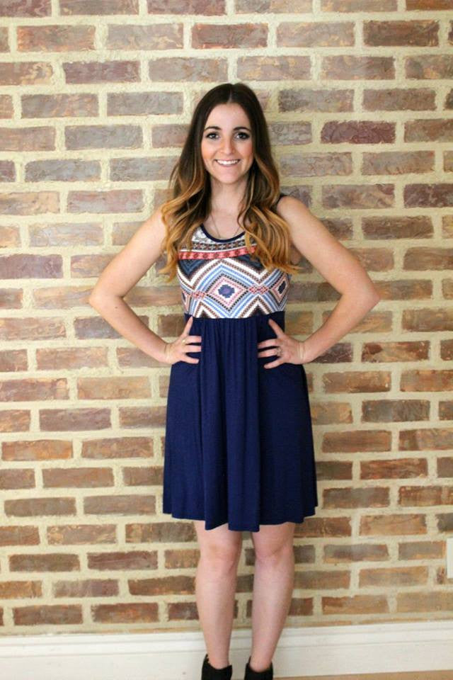 Flirty Aztec Navy Tunic Dress - Jourdan's Jewels