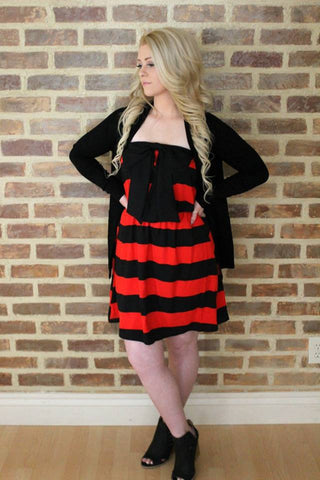 Connie Tube Top Striped Bow Dress - Red and Black