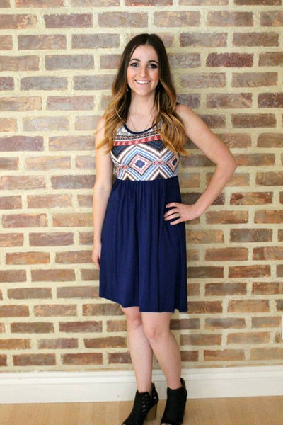 Flirty Aztec Navy Tunic Dress