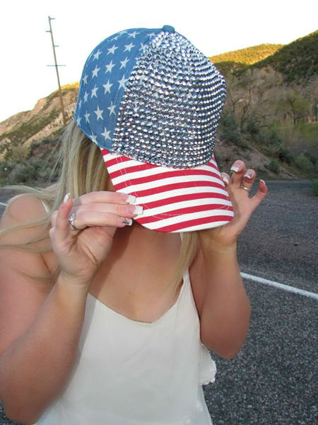 American Flag Bling Hat - 2 Colors - Jourdan's Jewels