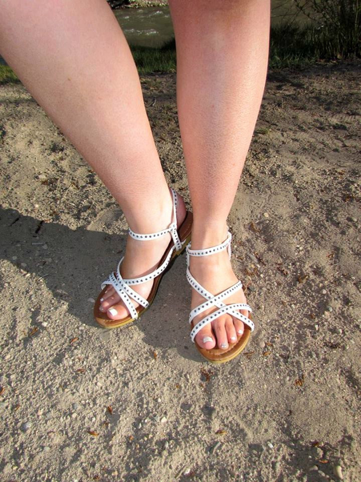 Studded Strappy Sandals - White