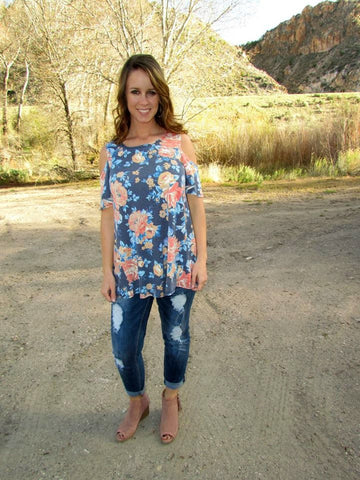 Blue Floral Cold Shoulder Tunic - Jourdan's Jewels