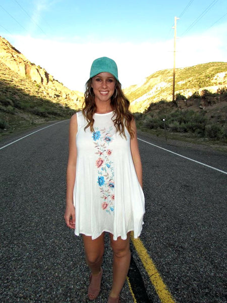 Turquoise Suede Hat