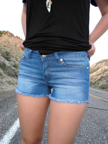 Medium Wash Denim Shorts - Jourdan's Jewels