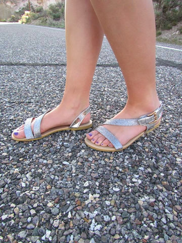 All That Glitters Sandals - Pewter - Size 6 - Jourdan's Jewels