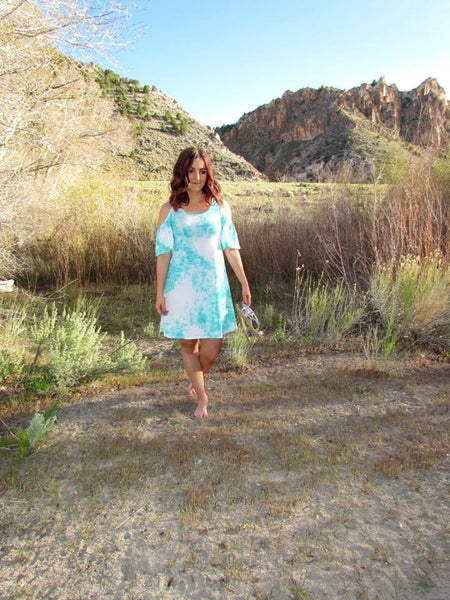 Mint Tie Dye Cold Shoulder Dress