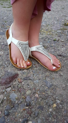 White Rhinestone Sandals - Size 6 - Jourdan's Jewels