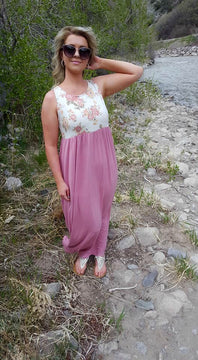 Pink Floral Sleeveless Maxi Dress