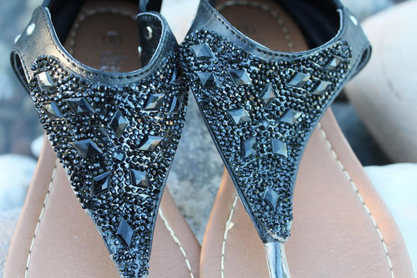 Black Rhinestone Sandals