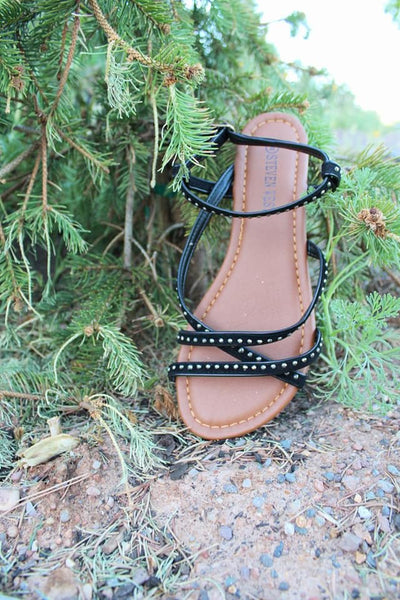 Studded Strappy Sandals - Black - Jourdan's Jewels
