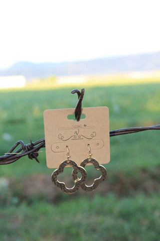 Hammered Clover Dangle Earrings