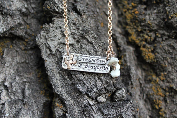 Strength is Beautiful Necklace - 2 Colors - Jourdan's Jewels