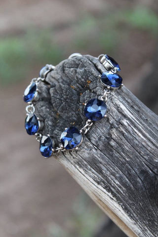 Colored Crystal Bracelet - Blue - Jourdan's Jewels