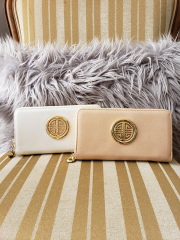Cream Zip Around Wallet - Jourdan's Jewels
