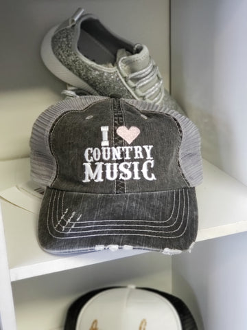 I Love Country Music Trucker Hat - 2 Colors - Jourdan's Jewels