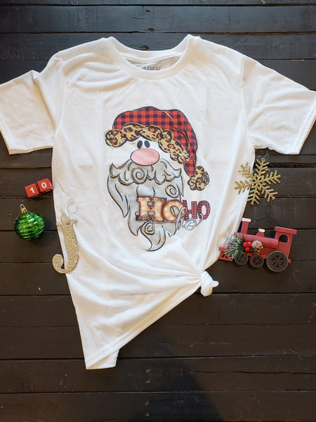 Santa Ho Ho Ho Christmas Tee - LARGE - Jourdan's Jewels