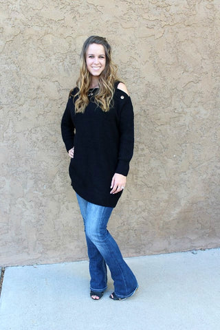Black Cold Shoulder Oversized Sweater