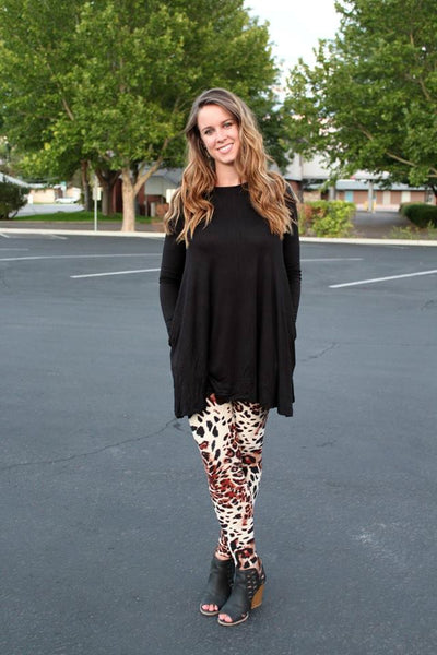 Black Long Sleeve Tunic with Pockets - Jourdan's Jewels