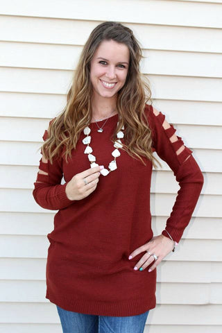 Rust Ladder Sleeve Tunic Sweater - Jourdan's Jewels