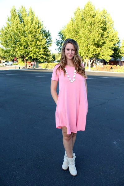 Pink Short Sleeve Pocket Dress