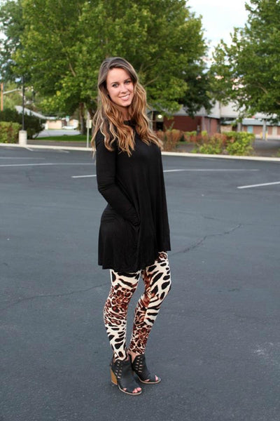Black Long Sleeve Tunic with Pockets - XL - Jourdan's Jewels