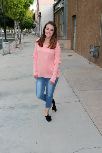 Peach Long Sleeve Top with Ruffle - Jourdan's Jewels