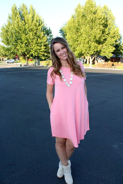 Pink Short Sleeve Pocket Dress - Jourdan's Jewels
