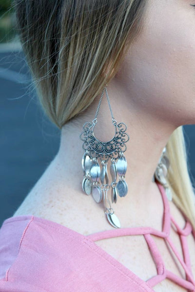 Antiqued Silver Dangle Earrings
