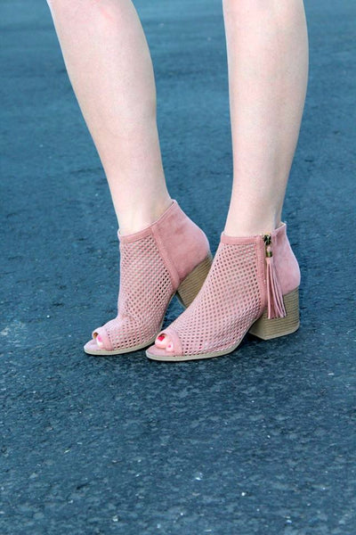 Veronica Peep Toe Booties - Mauve