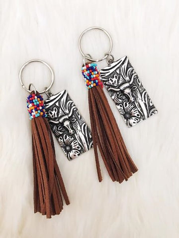 Brown Beaded Tassel, Metal Bull Head Keychain - Jourdan's Jewels