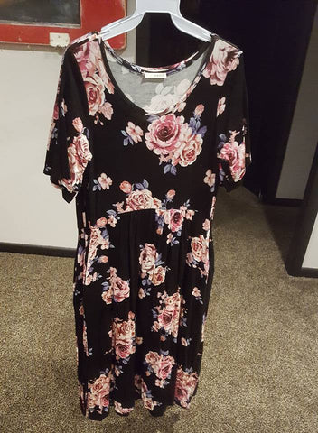 Black Dress with Floral