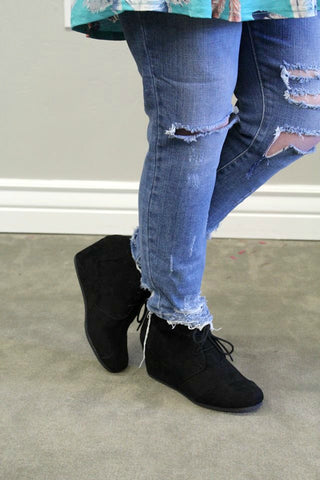 Patty Wedge Booties - Black - Jourdan's Jewels
