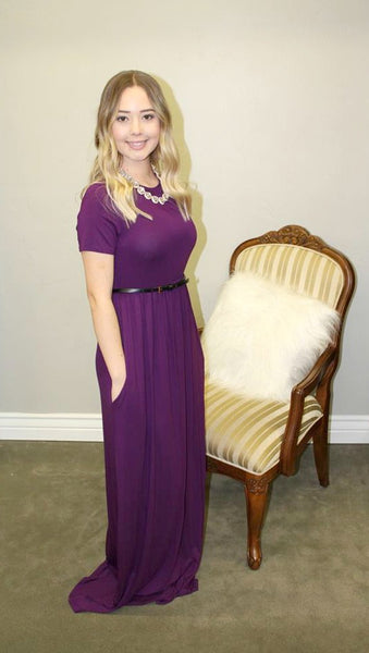 Plum Maxi Dress with Pockets - Jourdan's Jewels