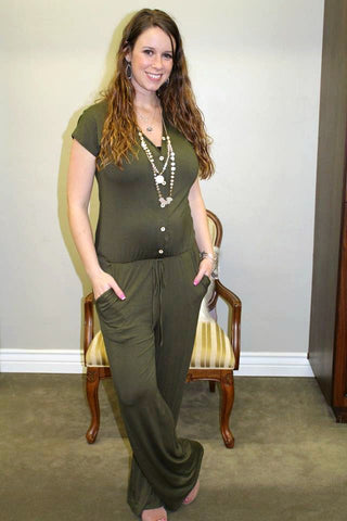 Olive Button Up Jumpsuit - Jourdan's Jewels