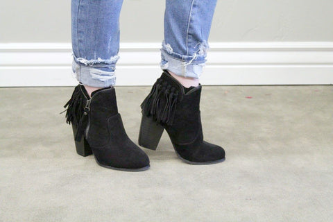 Black Fringe Booties - Size 7 - Jourdan's Jewels