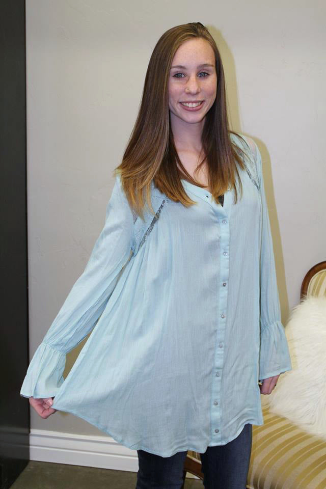 Blue Button Long Sleeve Top - Jourdan's Jewels