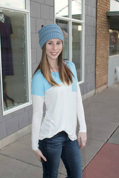 Colorblock Tunic with Suede Pocket/Patches - 3 Colors! - Jourdan's Jewels