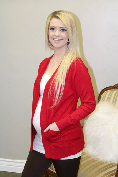 Pocket Cardigan - Red - LARGE - Jourdan's Jewels