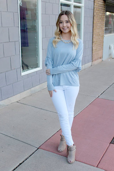 Dusty Blue Long Sleeve Top with Ruffle - Jourdan's Jewels